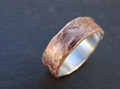 bronze ring silver band cool mens ring anniversary gift, mens wedding ring bronze, richly structured ring bronze engagement ring, wood grain ring for sale Cool Rings For Men, Unique Mens Rings, Rings Cool, Unusual Rings, Beautiful Wedding Rings, Unique Wedding Bands, Wedding Men, Rustic Wedding, Wedding Dress