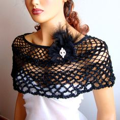 Bridal bolero shrug  Black Shawl Bride Bridesmaid Gifts by Pasin, $52.00