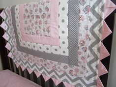 Pink and Gray Owl Crib Quilt Give A Hoot by by QuiltingThyme