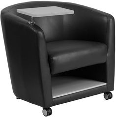 Flash Furniture BT-8220-BK-CS-GG Black Leather Guest Chair with Tablet Arm, Front Wheel Casters and Under Seat Storage