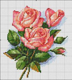 Ricami, lavori e centinaia di schemi a punto croce di tutti i tipi, gratis: Raccolta schemi di rose e boccioli a punto croce