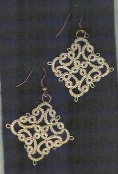 Unique tatted lace earrings by donatajones on Etsy