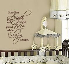 Guardian Angel Pure and Bright Guard Me While I sleep Baby Nursery Vinyl Wall Words Decal on Etsy, $19.99