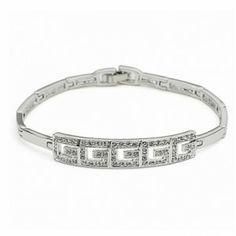 Silver Sterling Wedding Bracelet Embellished with Shining Rhinestones