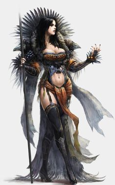 Female Sorceress Witch Dark Mage Long Black Hair Staff Fur Clothes