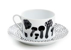 The stunning Shroomville cup and Sprinkle Sprinkle Little Spot saucer by House of Rym