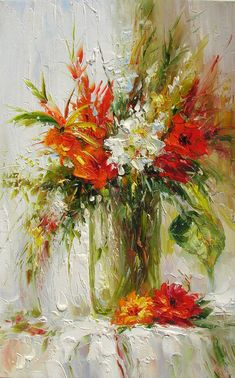 ORIGINAL Oil Painting A Brighter Day 23 x 36 Palette Knife Colorful Flowers Red White Textured Vase Bouquet Big by Marchella