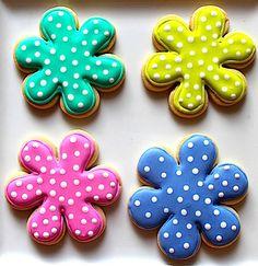 Polka Dot Flowers~ By Baking In Heels, Blue, green, pink, teal