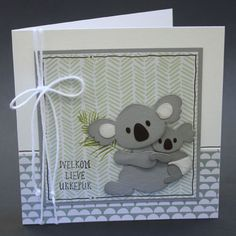 Kids Cards, Baby Cards, Marianne Design Cards, Welcome Card, Punch Art Cards, Bear Card, Congratulations Baby, Elizabeth Craft, Kids Birthday Cards