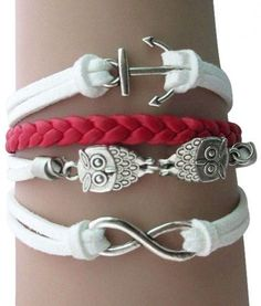 Red and White Owl Arm Party Bracelet  Percabeth???