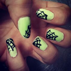 Glow in the dark spider web nails for Halloween