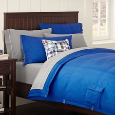 Classic Metro Duvet Cover + Pillowcase, Bright Blue | PBteen
