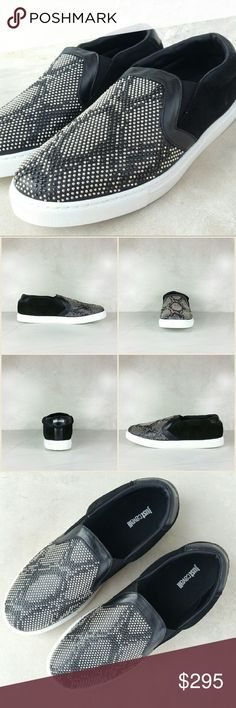 JUST CAVALLI snake design studded sneakers Save $300 (50%)  Bring some reptilian influence to your style wearing the Just Cavalli? Snake Design Studded Suede. Leather upper with snake stud design. Slip-on construction. Round toe silhouette. Leather and textile lining. Lightly padded insole. Synthetic outsole.  Color: black w/ black & silver studs Size: IT 44 (US 11).  NWT. Never worn. Comes with original box and dust bag. Can provide more pictures and info upon request. Reasonable offer only…