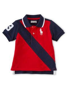 427e3813 Banner-Striped Cotton Polo - Baby Boy Polos - RalphLauren.com