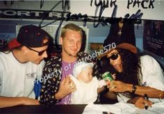 Jerry Cantrell, Layne Staley & Mike Inez...photo credit to antroche570 (father of the baby in this pic) via IG, 1993 Australia