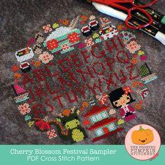 Cherry Blossom Festival Sampler PDF Cross Stitch Pattern / The Frosted Pumpkin Stitchery