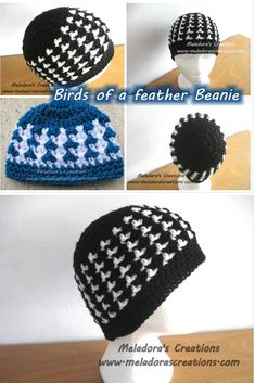 Your place to learn how to Crochet the Birds of a Feather Beanie for FREE. by Meladora's Creations - Free Crochet Patterns and Video Tutorials Crochet Adult Hat, Crochet Geek, Crochet Beanie Pattern, Crochet Cap, Free Crochet, Crochet Patterns, Hat Patterns, Crochet Dolls, Ravelry