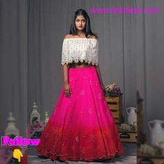 Pink and red shaded organza lehenga with half white off shoulder cape blouse!They can customize the dress as per your requirement.For more detail 21 March 2018 Pink Lehenga, Bridal Lehenga Choli, Indian Dresses, Indian Outfits, Indian Designer Wear, I Dress, Lehnga Dress, Rock, Outfit