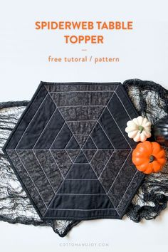Spook-up your home with this spiderweb halloween table topper! It comes together in an afternoon and adds a modern, yet spooky touch to your home. Halloween Table, Halloween Quilts, Spooky Halloween, Halloween Crafts, Halloween Sewing, Halloween Party, Halloween Decorations, Quilting Tutorials, Quilting Projects