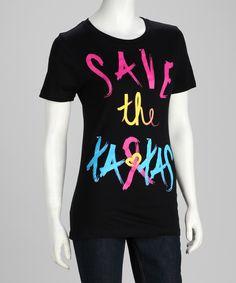 save the ta-tas Black Pink Ribbon Punk Tee - Women