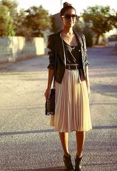 For cooler nights Nude midi, leather boots, blaxk top and jacket with boho bling