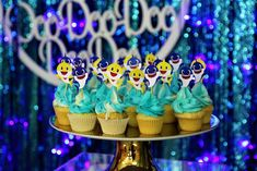 Loving the cupcakes at this Baby Shark birthday party! See more party ideas and share yours at CatchMyparty.com #catchmyparty #partyideas #babysharkparty #babyshark #boy1stbirthdayparty  #undertheseaparty #babysharkcupcakes
