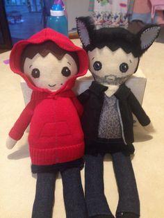 Stiles and Derek rag dolls. Teen Wolf. Sterek.