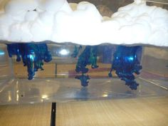 materials: 2 clear containers, water, shaving cream, food coloring, and droppers.slowly pour the food coloring on top of the shaving cream clouds