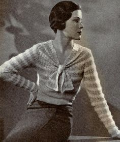 This is a vintage pattern using vintage yarn that has been discontinued. Pattern uses British crochet and knitting terms. The bottom ribbing is knitted, and the rest of the sweater is crocheted onto the ribbing. Vintage Crochet Patterns, Vintage Knitting, Vintage Sewing, Knitting Patterns, Crochet Bodycon Dresses, Black Crochet Dress, Crochet Blouse, Crochet Top, Knitting Terms