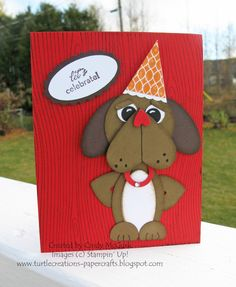 Stampin' Up!  Punch Art  Cindy McGurk  Party Dog