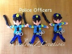Rainbow Loom POLICE OFFICER. Designed and loomed by MarloomZ Creations. Click photo for YouTube tutorial. 03/28/14