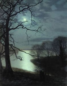 """""""Watching a Moonlit Lake by John Atkinson Grimshaw (1836 – 1893) Oil on Board (Private Collection)"""""""