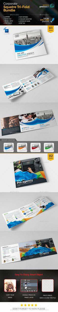 Square Bi-Fold Template Corporate brochure design, Corporate - corporate brochure template