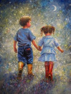 Twilight Walk  Original Vickie Wade Oil Painting, boy and girl,