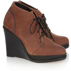 Rag & bone Odval leather wedge ankle boots ($370) ❤ liked on Polyvore