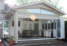 Remarkable Gable Roof Sunroom Addition Plans Simple Additional Glass Retractable Wall With Plan Idea Feat White Kitchenette Cabinet And Comfy Swivel Chairs With Patio Room And Solarium, Beautiful Conservatory Design Warm And Comfortable Tropical: Architec Four Season Sunroom, Three Season Room, All Season Porch, Back Patio, Backyard Patio, Diy Patio, Patio Plan, Patio Ideas, Sunroom Ideas