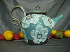 Ceramic Teapot in Teal Blue with White Poppy Flowers by Sally Anne Stahl @ clayshapergallery.com