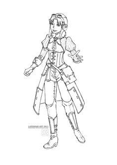 .Steampunk: Inshha Lineart by lazendar.deviantart.com