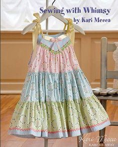 Bottom ruffle is 10 yards of fullness! Spring Fling dress pattern in Sewing with Whimsy book from Kari Mecca of Kari Me Away. Little Dresses, Little Girl Dresses, Little Girls, Girls Dresses, Baby Dresses, Dress Girl, Toddler Dress, Toddler Outfits, Kids Outfits