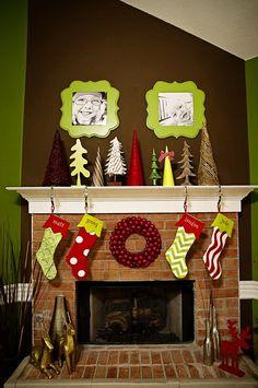 lime Green mantle decor | Christmas Mantles
