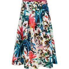 Nicole Miller Orchid Jungle Neoprene Printed Flare Skirt ($150) ❤ liked on Polyvore featuring skirts, multicolour, print skirt, flare skirt, patterned skirt, circle skirt and multi colored skirt
