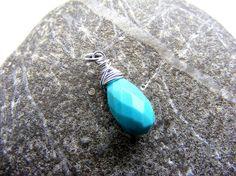 Arizona turquoise charm, turquoise silver charm, blue charm, interchangeable charm, removable charm, turquoise pendant, gemstone charm