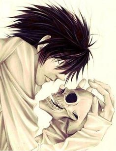 Death Note L holding a skull