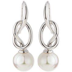 Majorica Pearl-Drop Silver Knot Earrings