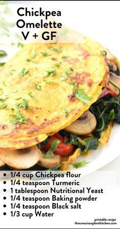 Chickpea Omelette, Vegan Omelette, Omelette Recipe, Healthy Breakfast Recipes, Vegan Recipes Easy, Vegetarian Recipes, Chickpea Flour Recipes, Steamed Sweet Potato, Vegan Protein Sources
