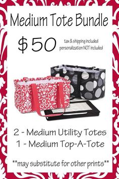 NOVEMBER SPECIAL - Medium Tote Bundle. Products: Medium Utility Tote and Medium Top-A-Tote