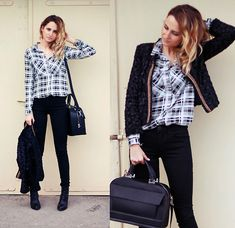 Adriana M. - River Island Black Faux Fur Jacket, American Eagle Outfitters Black Skinny Pants - - - - - PERFECTLY casual - - - -