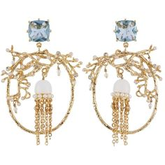 Les Néréides ATLANTIDE JELLYFISH AND CORAL HOOPS (1,445 CNY) ❤ liked on Polyvore featuring jewelry, earrings, blue, jewelry earrings, blue earrings, polish jewelry, earring jewelry, blue coral jewelry and blue hoop earrings