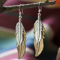 Mixed Metal Feathers Earrings by Amano Studio - SET & STYLE