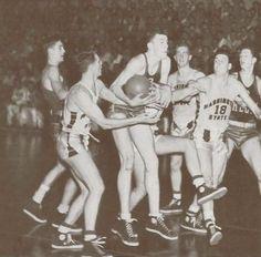 1943 Washington State - Oregon basketball game at Mac Court.  From the 1943 Oregana (University of Oregon yearbook).  www.CampusAttic.com